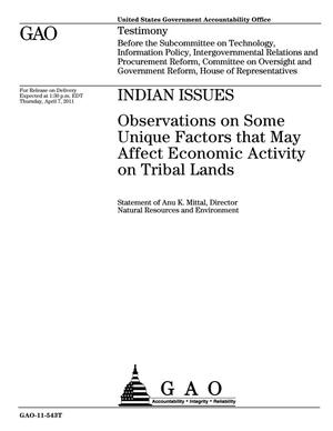 Primary view of object titled 'Indian Issues: Observations on Some Unique Factors that May Affect Economic Activity on Tribal Lands'.