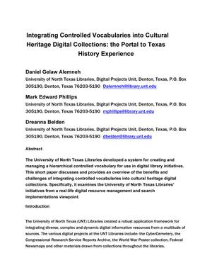 Primary view of object titled 'Integrating Controlled Vocabularies into Cultural Heritage Digital Collections: The Portal to Texas History Experience'.