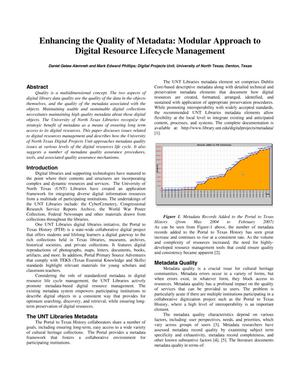 Primary view of object titled 'Enhancing the Quality of Metadata: Modular Approach to Digital Resource Lifecycle Management'.