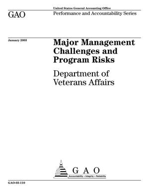Primary view of object titled 'Major Management Challenges and Program Risks: Department of Veterans Affairs'.