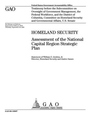 Primary view of object titled 'Homeland Security: Assessment of the National Capital Region Strategic Plan'.