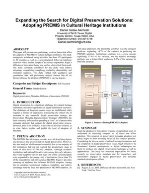 Primary view of object titled 'Expanding the Search for Digital Preservation Solutions: Adopting PREMIS in Cultural Heritage Institutions'.