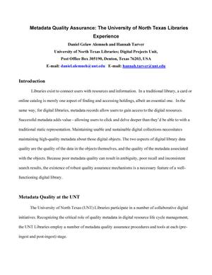Metadata Quality Assurance: The University of North Texas Libraries' Experience