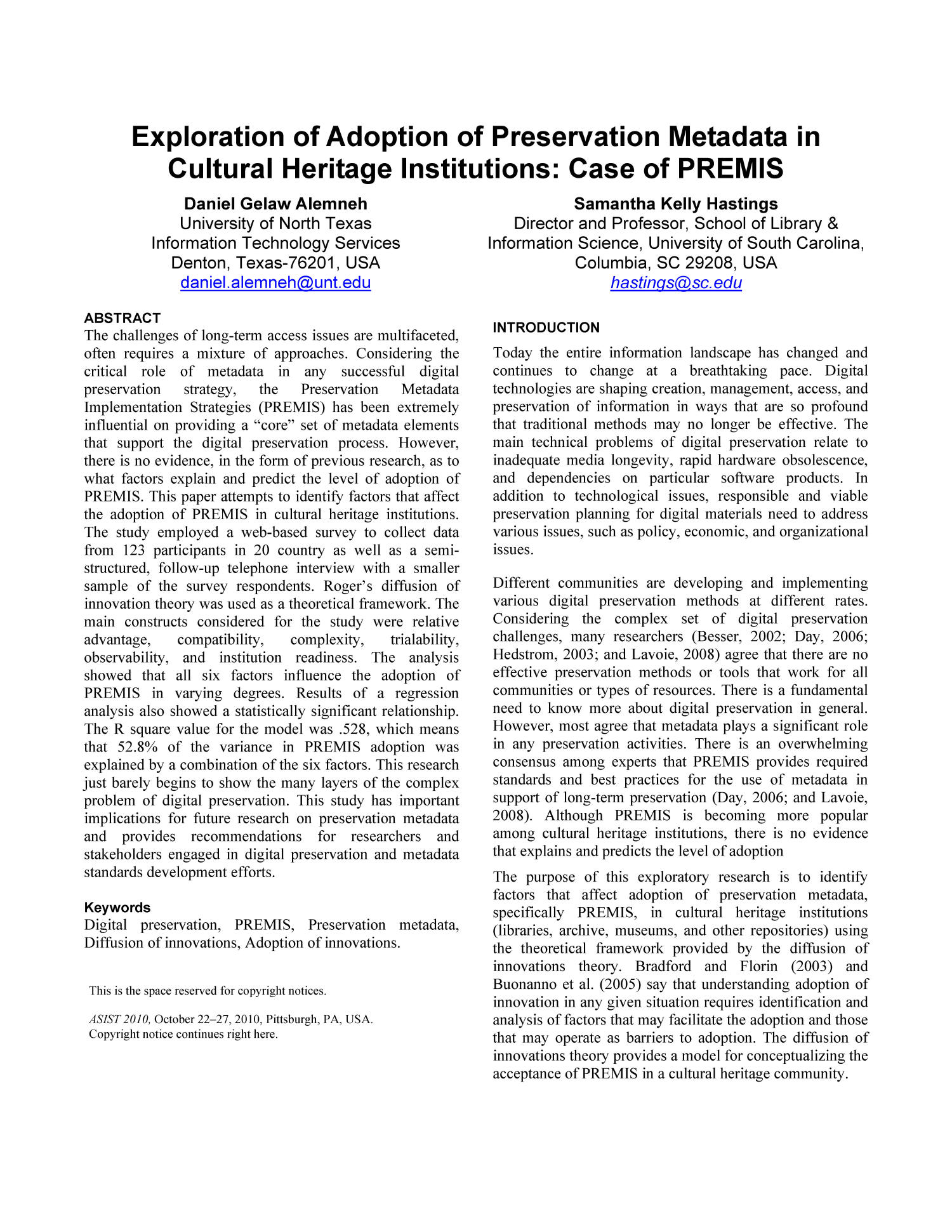 Exploration of Adoption of Preservation Metadata in Cultural Heritage Institutions                                                                                                      1