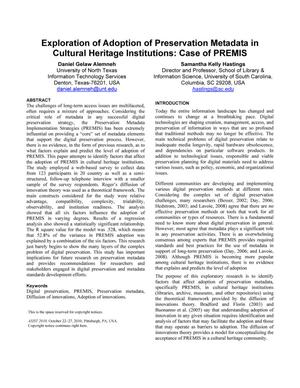 Primary view of object titled 'Exploration of Adoption of Preservation Metadata in Cultural Heritage Institutions'.