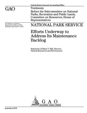 Primary view of object titled 'National Park Service: Efforts Underway to Address Its Maintenance Backlog'.