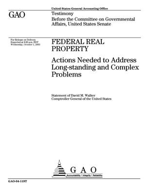 Primary view of object titled 'Federal Real Property: Actions Needed to Address Long-standing and Complex Problems'.