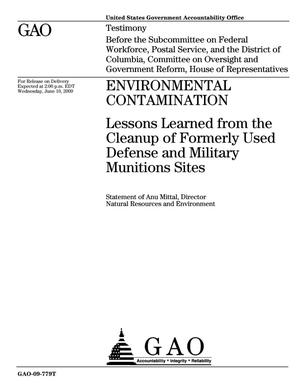 Primary view of object titled 'Environmental Contamination: Lessons Learned from the Cleanup of Formerly Used Defense and Military Munitions Sites'.
