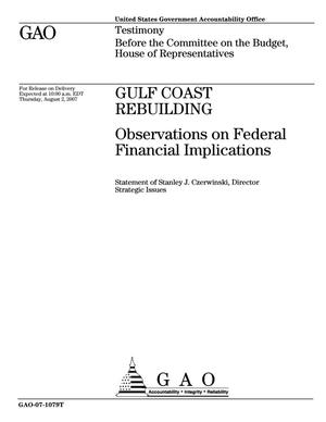 Gulf Coast Rebuilding: Observations on Federal Financial Implications