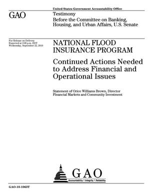 Primary view of object titled 'National Flood Insurance Program: Continued Actions Needed to Address Financial and Operational Issues'.
