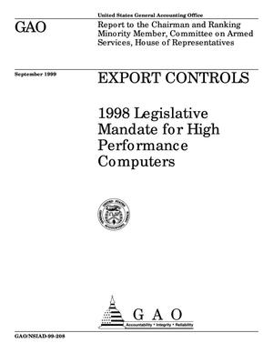 Primary view of object titled 'Export Controls: 1998 Legislative Mandate for High Performance Computers'.
