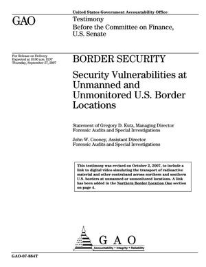 Primary view of object titled 'Border Security: Security Vulnerabilities at Unmanned and Unmonitored U.S. Border Locations'.