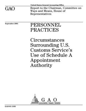 Primary view of object titled 'Personnel Practices: Circumstances Surrounding U.S. Customs Service's Use of Schedule A Appointment Authority'.