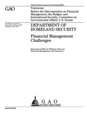 Primary view of object titled 'Department of Homeland Security: Financial Management Challenges'.