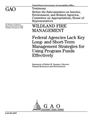 Primary view of object titled 'Wildland Fire Management: Federal Agencies Lack Key Long- and Short-Term Management Strategies for Using Program Funds Effectively'.