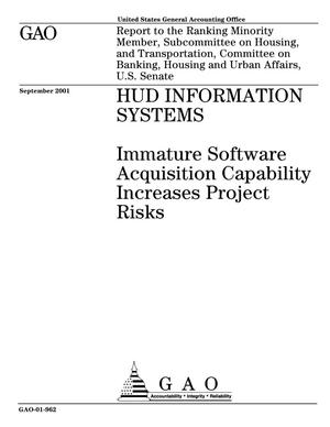 Primary view of object titled 'HUD Information Systems: Immature Software Acquisition Capability Increases Project Risks'.