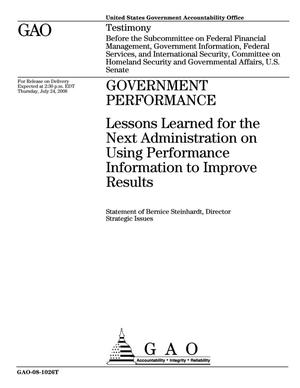Primary view of object titled 'Government Performance: Lessons Learned for the Next Administration on Using Performance Information to Improve Results'.