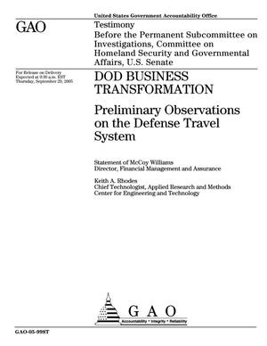 Primary view of object titled 'DOD Business Transformation: Preliminary Observations on the Defense Travel System'.