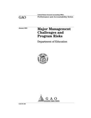 Primary view of object titled 'Major Management Challenges and Program Risks: Department of Education'.