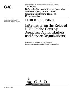 Primary view of object titled 'Public Housing: Information on the Roles of HUD, Public Housing Agencies, Capital Markets, and Service Organizations'.