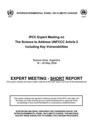 IPCC Expert Meeting on The Science to Address UNFCCC Article 2 including Key Vulnerabilities
