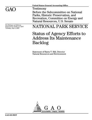 Primary view of object titled 'National Park Service: Status of Agency Efforts to Address Its Maintenance Backlog'.
