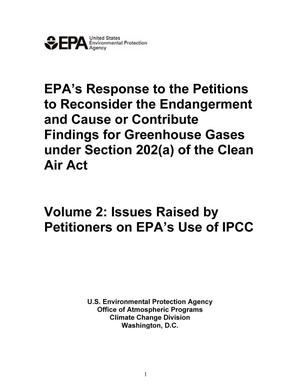 EPA's Response to the Petitions to Reconsider the Endangerment and Cause or Contribute Findings for Greenhouse Gases under Section 202(a) of the Clean Air Act