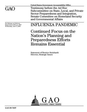 Primary view of object titled 'Influenza Pandemic: Continued Focus on the Nation's Planning and Preparedness Efforts Remains Essential'.