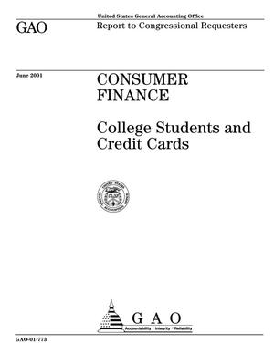 Primary view of object titled 'Consumer Finance: College Students and Credit Cards'.