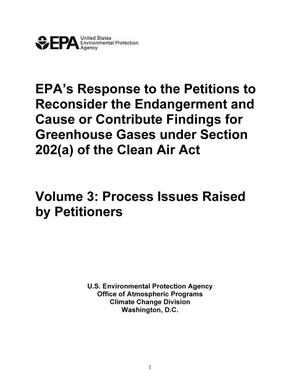 Primary view of object titled 'EPA's Response to the Petitions to Reconsider the Endangerment and Cause or Contribute Findings for Greenhouse Gases under Section 202(a) of the Clean Air Act'.