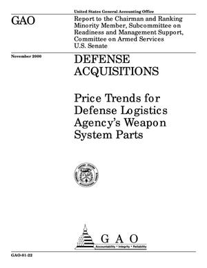 Primary view of object titled 'Defense Acquisitions: Price Trends for Defense Logistics Agency's Weapon System Parts'.
