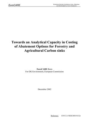 Primary view of object titled 'Towards an Analytical Capacity in Costing of Abatement Options for Forestry and Agricultural Carbon Sinks'.
