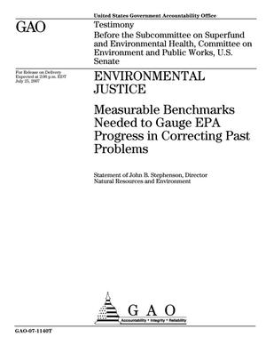 Primary view of object titled 'Environmental Justice: Measurable Benchmarks Needed to Gauge EPA Progress in Correcting Past Problems'.
