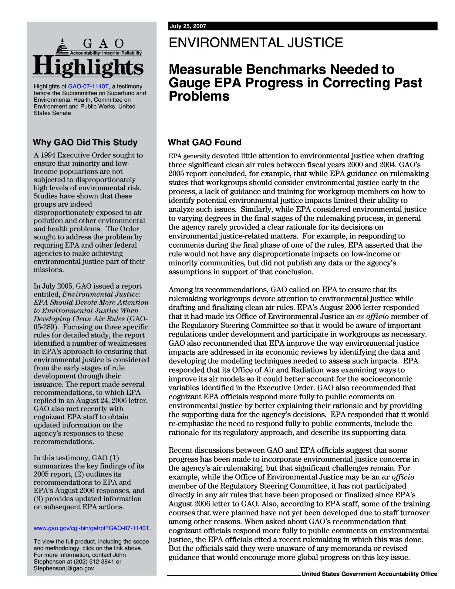 Environmental Justice: Measurable Benchmarks Needed to Gauge EPA Progress in Correcting Past Problems                                                                                                      [Sequence #]: 2 of 17