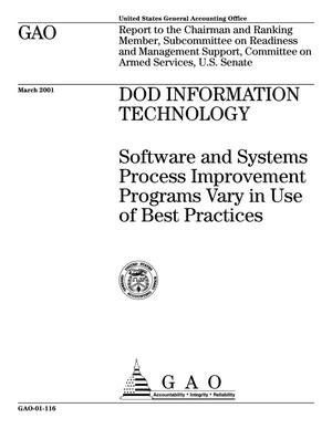 Primary view of object titled 'DOD Information Technology: Software and Systems Process Improvement Programs Vary in Use of Best Practices'.