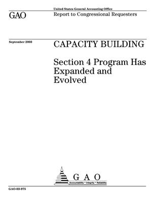 Primary view of object titled 'Capacity Building: Section 4 Program Has Expanded and Evolved'.
