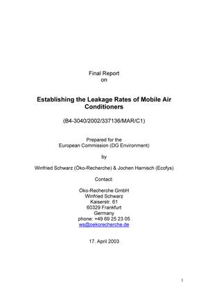 Establishing the Leakage Rates of Mobile Air Conditioners