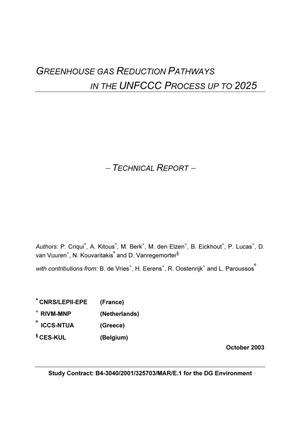 Primary view of object titled 'Greenhouse Gas Reduction Pathways: In the UNFCCC Process up to 2025'.