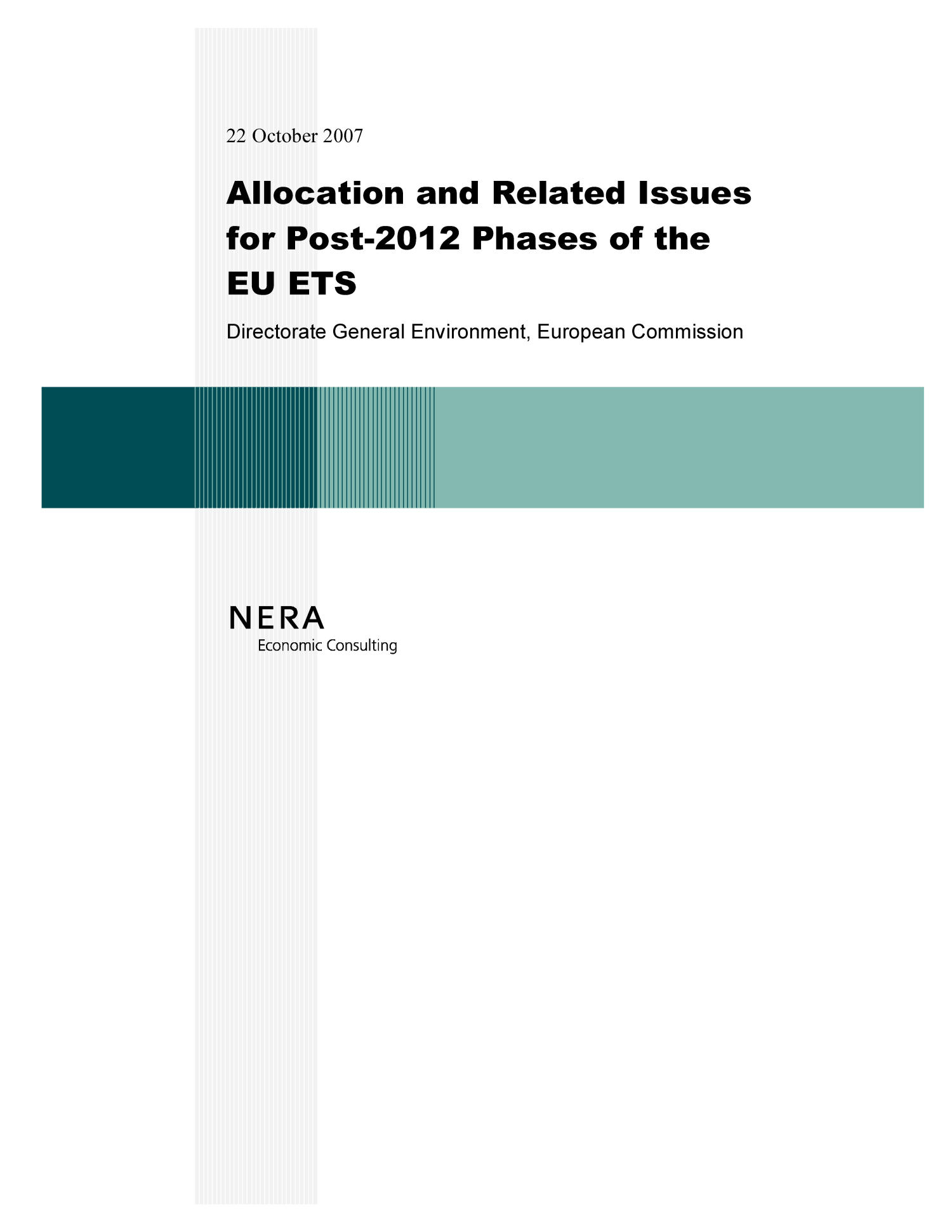 Allocation and Related Issues for Post-2012 Phases of the EU ETS                                                                                                      Front Cover