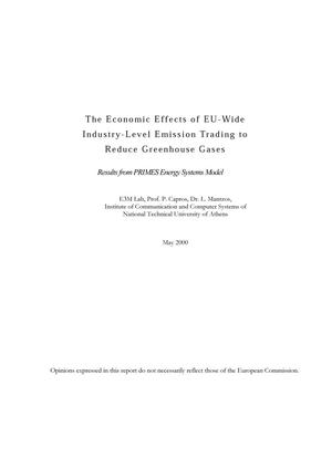 Primary view of object titled 'The Economic Effects of EU-Wide Industry-Level Emission Trading to Reduce Greenhouse Gases: Results from PRIMES Energy Systems Model'.