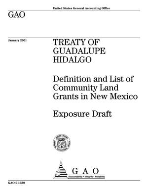 Primary view of object titled 'Treaty of Guadalupe Hidalgo: Definition and List of Community Land Grants in New Mexico (Exposure Draft)'.