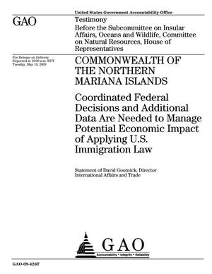 Primary view of object titled 'Commonwealth of the Northern Mariana Islands: Coordinated Federal Decisions and Additional Data Are Needed to Manage Potential Economic Impact of Applying U.S. Immigration Law'.