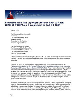 Primary view of object titled 'Comments From The Copyright Office On GAO-10-428R (GAO-10-707SP), an E-supplement to GAO-10-428R'.
