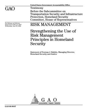 Primary view of object titled 'Risk Management: Strengthening the Use of Risk Management Principles in Homeland Security'.