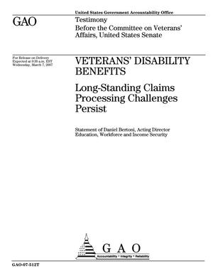 Primary view of object titled 'Veterans' Disability Benefits: Long-Standing Claims Processing Challenges Persist'.
