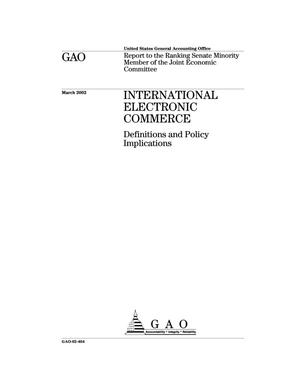 Primary view of object titled 'International Electronic Commerce: Definitions and Policy Implications'.