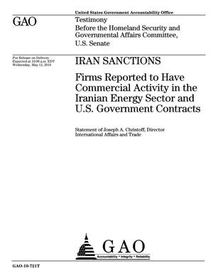Primary view of object titled 'Iran Sanctions: Firms Reported to Have Commercial Activity in the Iranian Energy Sector and U.S. Government Contracts'.