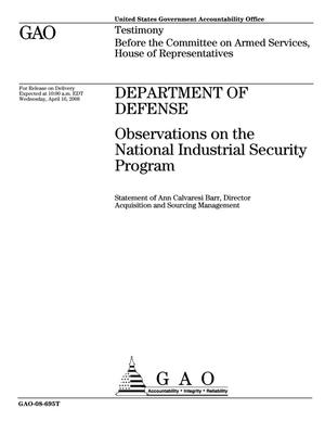 Primary view of object titled 'Department of Defense: Observations on the National Industrial Security Program'.