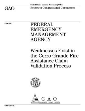 Primary view of object titled 'Federal Emergency Management Agency: Weaknesses Exist in the Cerro Grande Fire Assistance Claim Validation Process'.