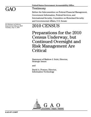 Primary view of object titled '2010 Census: Preparations for the 2010 Census Underway, but Continued Oversight and Risk Management Are Critical'.